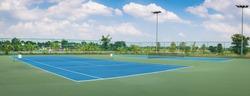 Tennis Court at tennis club , panorama