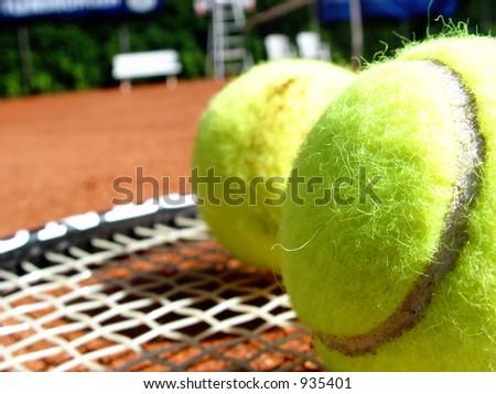 tennis court - balls and racket