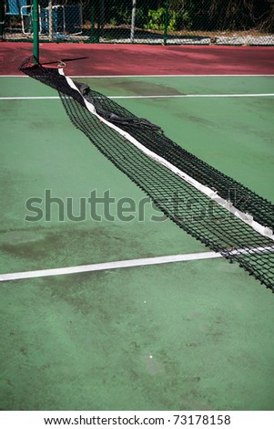 Tennis court in disrepair