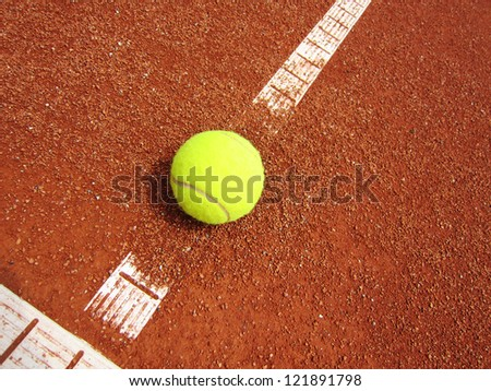 tennis court line with ball