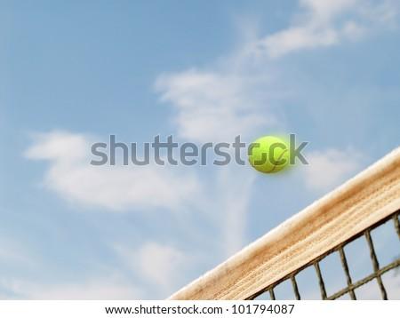 tennis court net sky and ball 2
