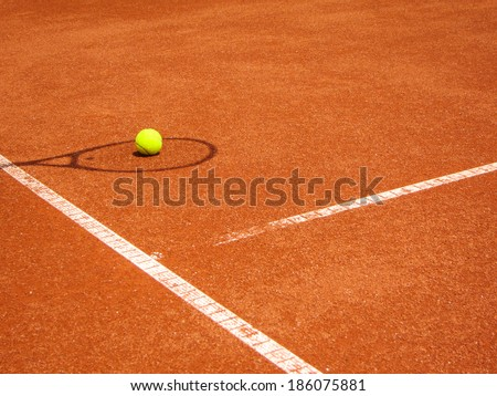 tennis court t-line (300) with racket shadow and ball