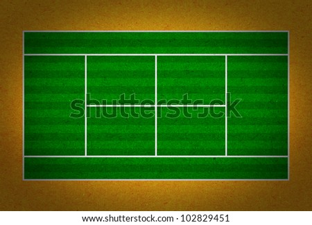 Tennis court with white lines on grunge paper