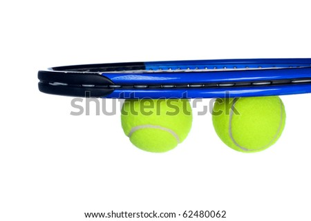 Tennis equipment including a racket and balls isolated on white
