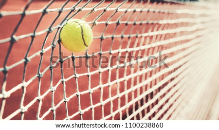 Tennis game. Tennis ball on the tennis court. Sport, recreation concept