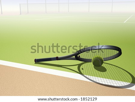 Tennis image with racquet, ball and space for text