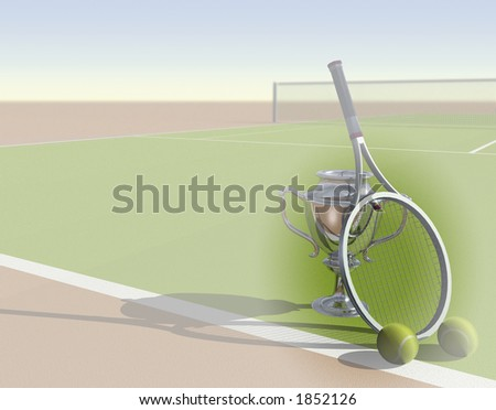 Tennis image with trophy and space for text