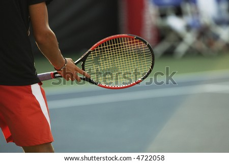 Tennis player and racket between points.