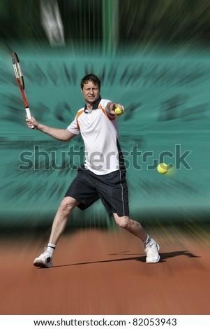Tennis player hitting Forehand