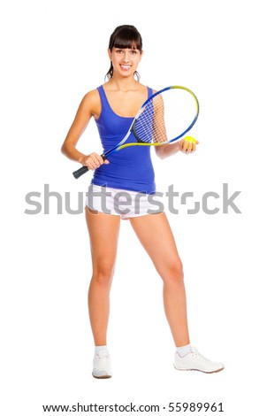 Tennis player young girl isolated over white background