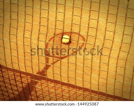 tennis racket and net shadow with ball in the tennis court 149 old photo look