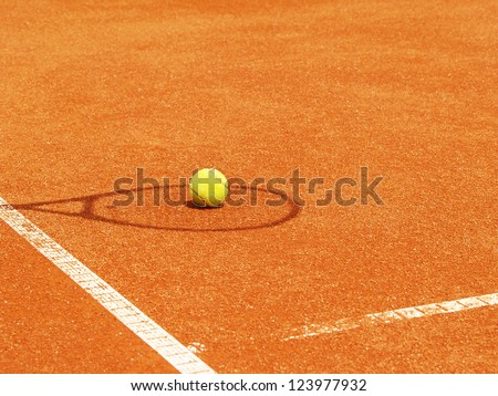 tennis racket shadow with ball in the tennis court 48