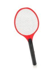 Tennis racket shaped electric mosquitoes killer isolated on white background.