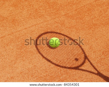 tennis racket with ball - shadow in the tennis court 13