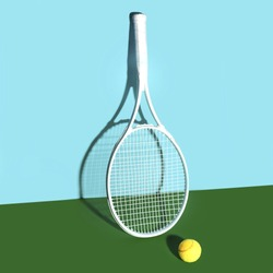 Tennis rackets and ball on blue-green background