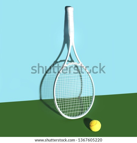 Tennis rackets and ball on blue-green background Сток-фото ©