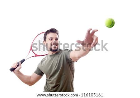 Tennis serve.White background.