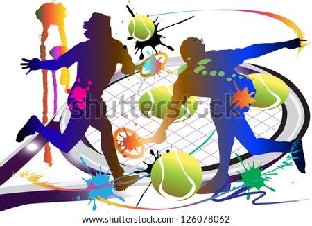 tennis sport action - stock photo