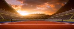tennis stadium night before the match