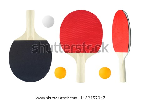 Tennis table rackets with ball for ping pong game. Sport equipment isolated on white background