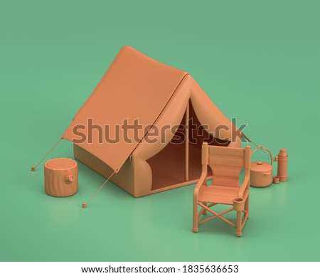 Tent and folding chair in the camping. Isometric camping objects and scenes, monochrome yellow camping equipment on green background, 3D Rendering, hunting and camping