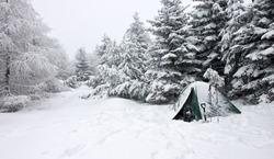 Tent Buried in Snow in Misty Winter Landscape, Krusne Mountains, Czech Republic