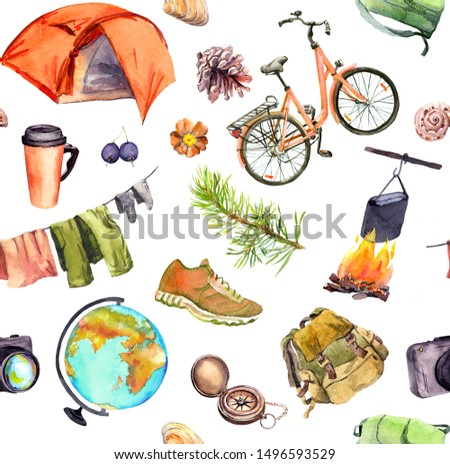 Tent, camp fire, bicycle, backpack, other touristic equipment. Seamless pattern. Watercolor for travel design, Tourist day