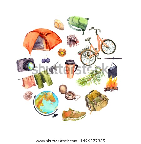 Tent, camp fire, photo camera, cup, choes, bicycle, backpack, pine branch, other touristic equipment. Hand painted watercolor round pattern for travel design, Tourist day