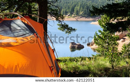 Tent, Campground at Lake - stock photo