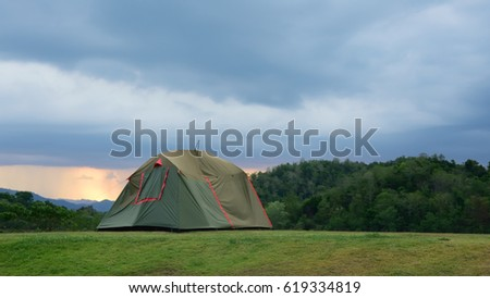 tent camping in tropical camp site #619334819
