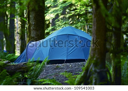 Tent Camping. Large Blue Tent in a Middle of Forest. Outdoor and Recreation Photo Collection. Washington State Forest.