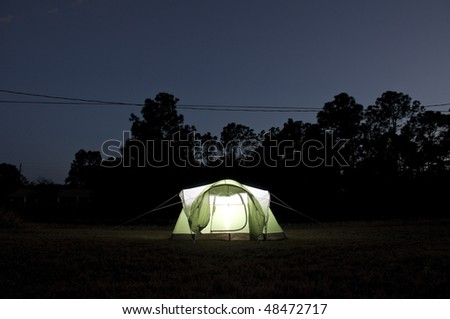 Tent in Nature at Night