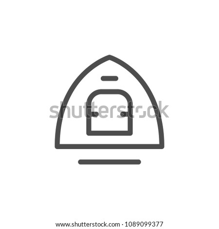 Tent line icon isolated on white