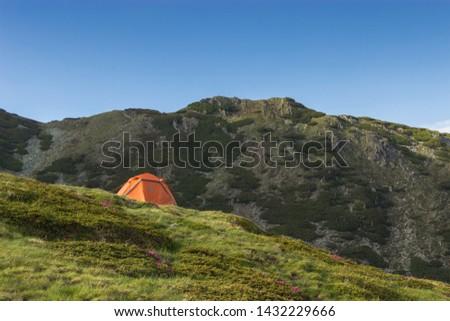 TENT, MOUNTAINS, GRASS, NO PEOPLE, mountain peony, SKY #1432229666