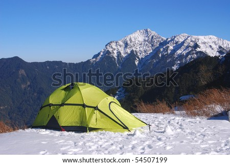 tent on snow in taroko national park,taiwan,asia. Photo taken on: January 15th, 2010 #54507199
