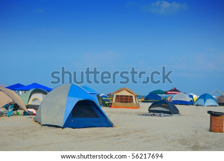 tent setup in the beach