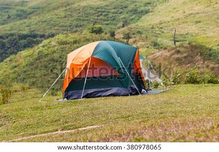 Tent with air Kanchanaburi, Thailand. #380978065