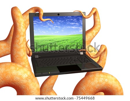 Tentacles of a monster, holding a laptop. Isolated over white
