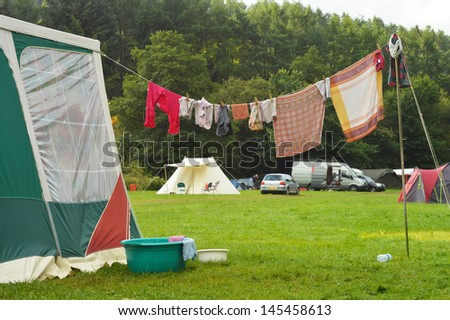 Tents and a clothing line on a Campsite in the Belgian Ardennes