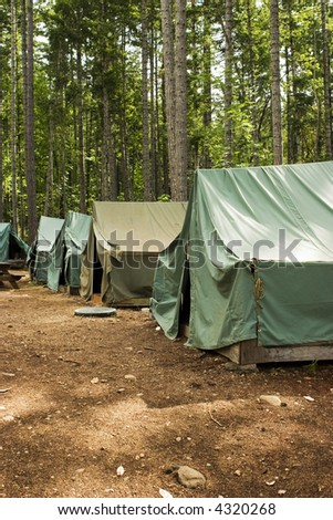 Tents at summer camp. A group of five tents in a clearing at a Boy Scout summer campsite.