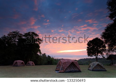 Tents for campers on the hill in the morning in Thailand