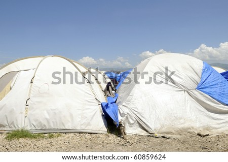 Tents in a tent city in Haiti.