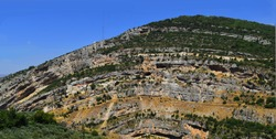 Teotokos hamatoura monastery set on a cliff in the lowest part of the saints valley in Lebanon, this monastery built of a former church settle in cave on the cliff on an anticline