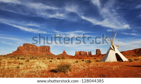 Tepee on desert floor in Monument Valley on the Arizona and Utah border.