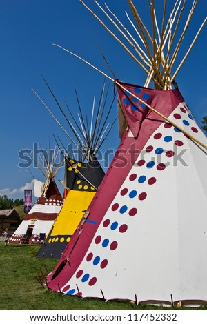 Tepees in the Indian village