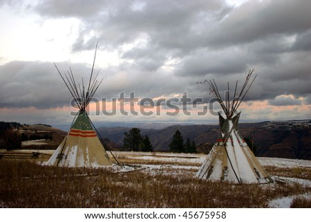 Tepees overlooking Chief Joseph Canyon, Oregon