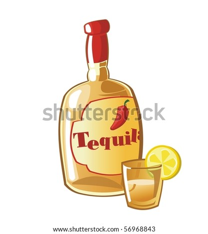 Tequila bottle with drinking glass and lemon.