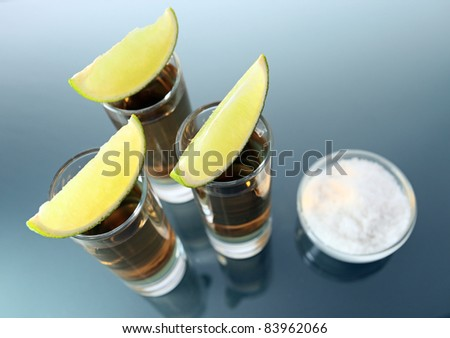 tequila  on a glass table.