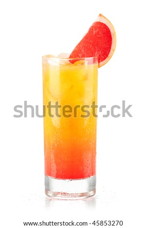 Tequila sunrise alcohol cocktail isolated on white background