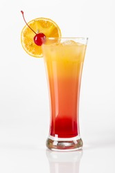 Tequila Sunrise cocktail. Delicious fruit cocktail with a dash of Tequila.